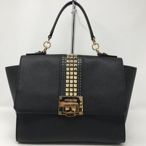 Micheal Kors Tina Med Satchel Black Leather